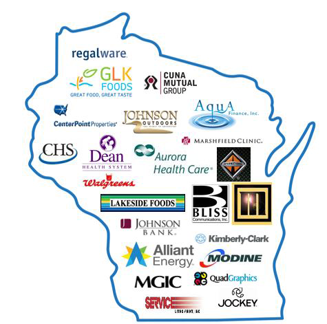 map of Wisconsin businesses that are SWIB partners