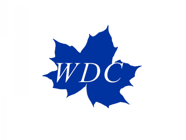 The WDC logo leaf with WDC in white letter on a blue maple leaf.