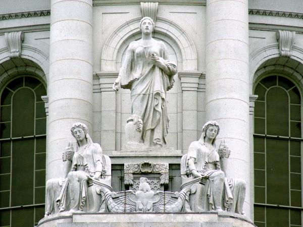 The northwest sculpture group of the Wisconsin State Capitol representing prosperity and abundance.