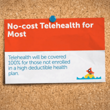 Card advertising no-cost telehealth for most