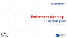 Retirement Planning - An Action Plan title slide.