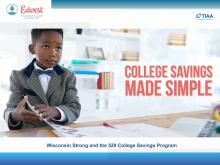 Title slide of College Savings Made Simple with a young boy dressed in a suit and working.