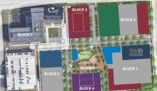 map of new building location at Madison Yards development