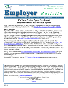 Employer Bulletin: It's Your Choice Open Enrollment Employer