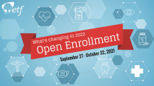 Title slide of video with Open Enrollment text and health icons images.